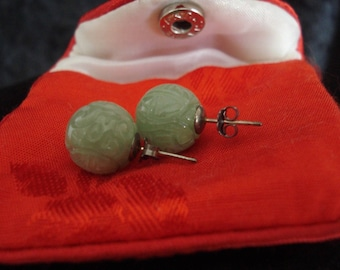 Vintage Jade Carved Ball Post Earrings