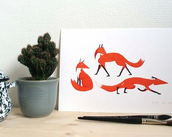Giclee print // three red foxes looking to the right // A4 limited reproduction illustration // handmade // nursery art // red fox art