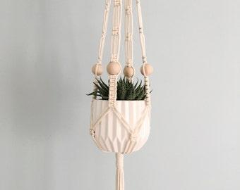 Handmade Macrame Hanging Planter // Wood Beads // Plant Hanger