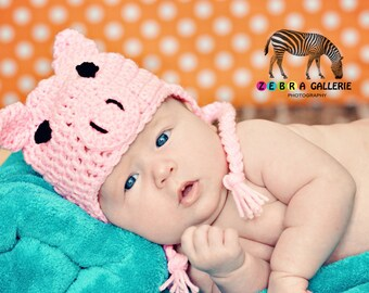 Crochet Pattern Little Pig Hat Newborn - Adult