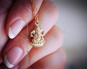 Ganesh Necklace - Natural Bronze Hindu God Ganesha Pendant Charm -14K Gold Filled Delicate Chain - Insurance Included