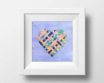 Mixed Media Watercolor Weaving Heart