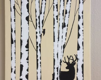 deer, fall, birch, woodpecker