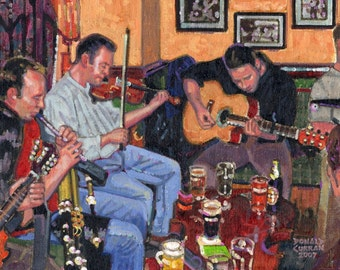 Color Print of Oil Painting, Pub Hodown, Ireland