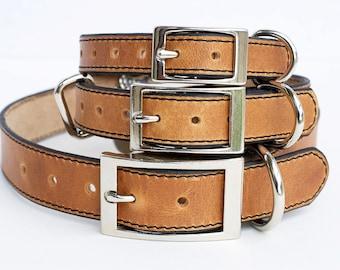 Premium Dog Collar, Leather Dog Collar, Personalized Leather Dog Collar, Horween Leather Dog Collar, Natural Leather Dog Collar
