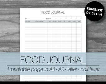 FOOD JOURNAL. Printable Pages/Planner Inserts. 4 Sizes. Instant Download. Letter - Half Letter - A4 - A5