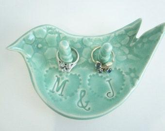 Ring holder, Ring dish, Custom ring dish, ceramic engagement ring bowl Gift for Bride, Made to Order