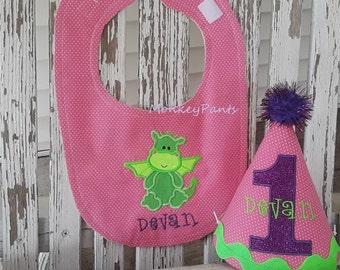 Dragon 1er chapeau de fête d'anniversaire - gâteau Smash tenue fille - Dragon & bavoir ensemble - 1er anniversaire tenue fille - premier 1er anniversaire