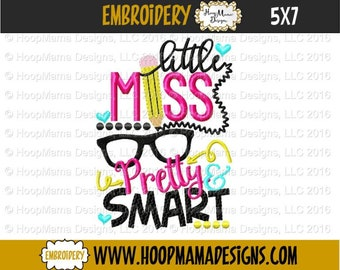 School, Little Miss Pretty and Smart shirt, embroidery