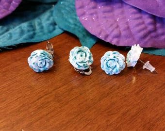 Blue and White flower charm earrings - resin cabochons - post or clip on available - girls jewelry accessories