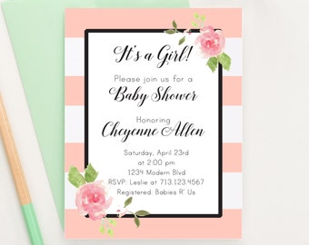 Floral Baby Shower Invitation, Modern Baby Shower Invitation, Girl Baby Shower Invitation, Baby Shower Rustic, Watercolor Baby Shower,BSI007