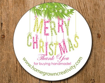 Customized Stickers - Merry Christmas Thank You Stickers PInk Green - Wedding - Gift - Labels - Party - Holiday Stickers