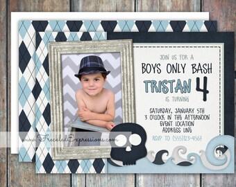 Boys Only Birthday Bash Inviation