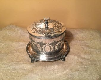 Antique Engraved Silver Tea/Biscuit/Tobacco box