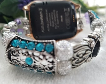 Gorgeous combination of blue, black and silver 22mm smart watch band