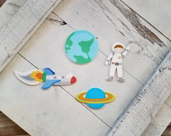 Outer Space Push Pin or Magnet Set of 4 Stocking Stuffer Spaceship Thumb Tack Planet Magnet Ready to Ship