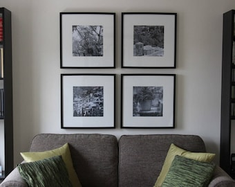 Mallorca Village Scenes - 4 for the price of 3 !  Black & white wall art, set of 4 original prints, ready for framing