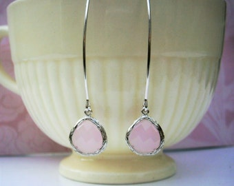 Pink Earrings, Silver Earrings, Blush Pink,  Bridal Jewelry, Bridesmaid Earrings, Mom, Wife, Mother, Girlfriend