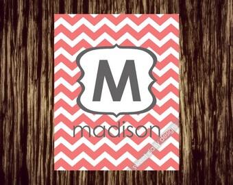 Kinderzimmer-Drucke, Monogramm Chevron personalisierte Namen Kunst bedruckbar, benutzerdefinierte Baby Wandkunst, Nursary Wandkunst, individuelle Geschenk, personalisierte