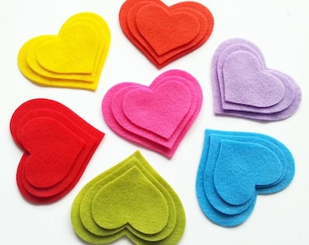 Felt Hearts, felt Shapes, Valentines day, 21 pieces. Die Cut Shapes, Applique, felt supplies for crafts, Felt garland,