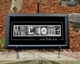Great Gift Idea - Alphabet Letter Photos -  Welcome Sign -  10x20 Unframed