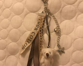 Beige Teddy bear keychain