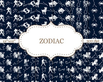 ZODIAC digital paper Zodiac signs Zodiacdigital background Blue and White Zodiac Sky Zodiac constellations Instant Download  #P021