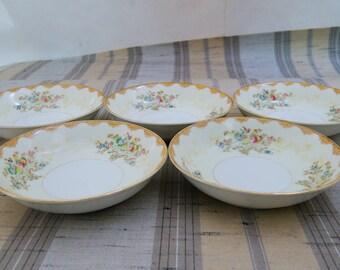 5 Vintage Meito China Dalton Hand Painted Floral Berry Bowls F & B Japan