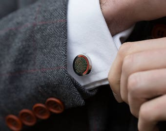 Metallics Collection - Knitted Cufflinks - Green and Copper