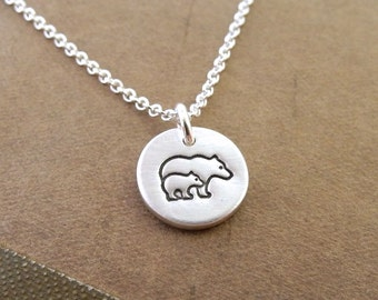 Teeny Tiny Mother and Baby Bear Necklace, Bear and Cub, New Mom Necklace, Fine Silver, Sterling Silver Chain, Made To Order