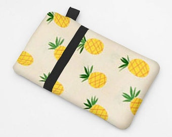 Women's Smartphone Sleeve, iPhone 8 Wallet, Samsung Galaxy S8 Case, Padded iPhone Cover, Lenovo Phone Case - yellow pineapples in cream