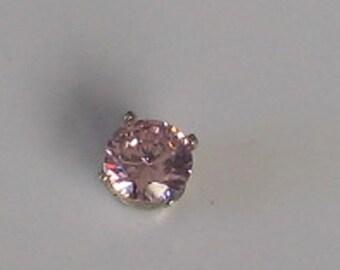 6mm  Pink CZ Single Vintage Sterling  Post Earring