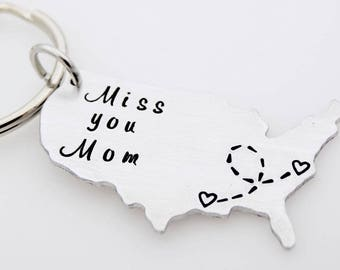 Long distance family, Miss you Mom, Long distance Mom, Moving Gift, Going away College, Out of state move, Usa Map, Long distance gift