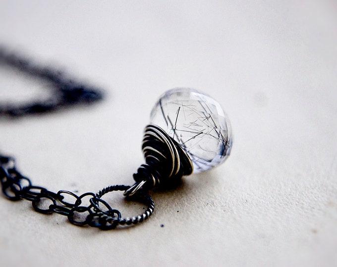 Tourmalinated Quartz, Tourmalinated Black, Crystal Necklace, Crystal Pendant, Quartz Necklace, Quartz Jewelry, Crystal Jewelry, PoleStar