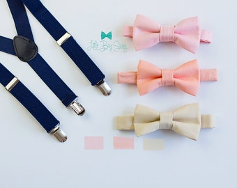 Navy Suspenders Nude Blush or Peach Boys Bow Tie, Wedding Bow Tie, Kids and Adult Bow Tie Suspenders, Ring Bearer Outfit, Baby Boy Bow Tie