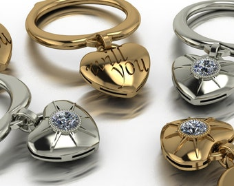 WIll YOU -  Engagement Ring -Proposal - 18k Gold   Diamond  Dangle Heart Ring