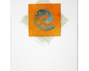 Handmade Greeting Card, Mixed Media, Spiral, Orange, Turquoise
