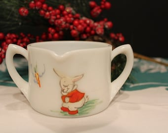 Vintage Unique White Milk Glass Childs Sippy Cup with Two Handles and Spout, Decorated with Hand Painted Peter Rabbit, Sippy Cup (D046)