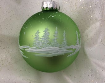 Light Green Handpainted Glass Christmas Ornament