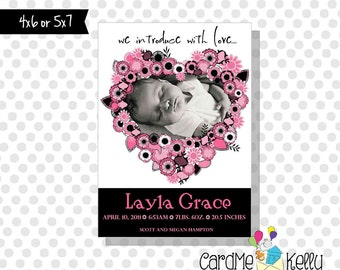 Printable Pink and Black Flowers Birth Announcement - Digital File