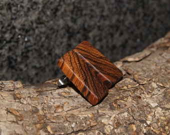 Zebra  Wood Earrings, stud earrings, stainless steel posts