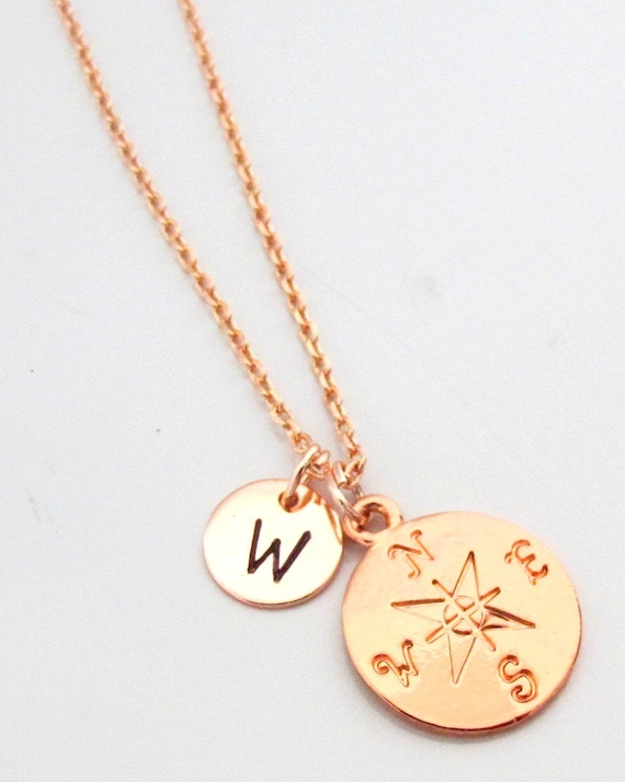 Rose Gold Compass Necklace,Graduation Gift,Follow Your Dreams,Inspirational Gift,Gift for Grad,Geography Gift for Her, Free Shipping In USA