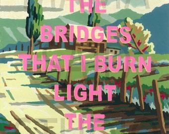 11x14 Print of Vintage Paint By Number PBN Bridges That Burn