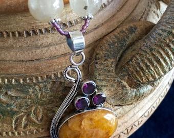 AUTUMN WINE Necklace (Calcite, Amethyst, Golden Rutilated Quartz, Quartz, Czech Crystal, Sterling Silver)