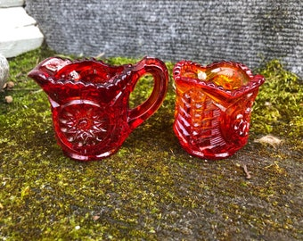 Miniature Sugar And Creamer Set Early American Pressed Glass Red Orange Small EAPG 2""