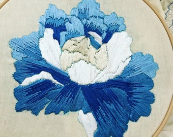 "Blue Flower 6"" Floral Embroidery Hoop Art, Blue Flower Embroidery, Garden Embroidery"