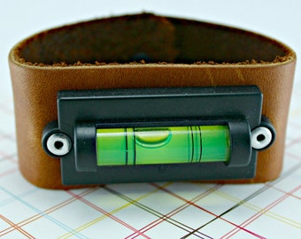 Level With Me Working Level Leather Bracelet Cuff Measuring 8 Inches