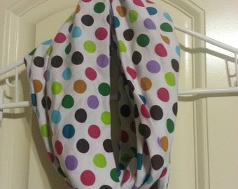 Handmade Infinity Scarf in Jersey Knit with Multi-colored dots