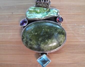 Ocean Jasper/BIWA Pearl and Aquamarina Pendant .925 Silver