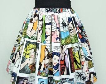 Pinup Comic Strip  Skirt  Vintage Inspired Skirt White